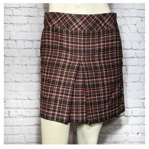 Loft Plaid Wool Mini Skirt Pockets Red Green NWT 0